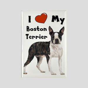 I Love My Boston Terrier Rectangle Magnet