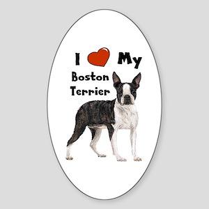 I Love My Boston Terrier Oval Sticker