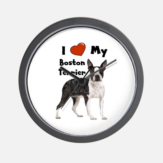 I Love My Boston Terrier Wall Clock