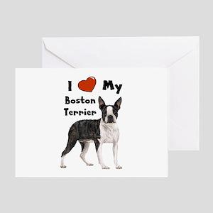 I Love My Boston Terrier Greeting Card