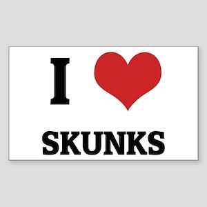 I Love Skunks Rectangle Sticker