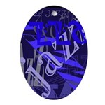 Jazz Blue on Blue Oval Ornament