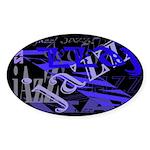 Jazz Blue on Blue Oval Sticker (50 pk)