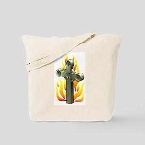 Fiery Cross Tattoo Art Tote Bag