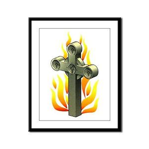 Fiery Cross Tattoo Art Framed Panel Print