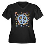 Peace & Butterflies Women's Plus Size V-Neck Dark