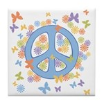 Peace & Butterflies Tile Coaster