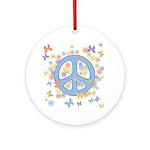 Peace & Butterflies Ornament (Round)