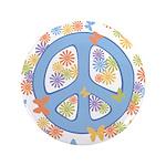 """Peace & Butterflies 3.5"""" Button"""