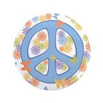 "Peace & Butterflies 3.5"" Button (100 pack)"
