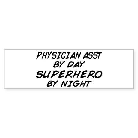 Physician Assistant Superhero by Night Sticker (Bu