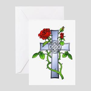 Celtic Rose Cross Tattoo Greeting Card