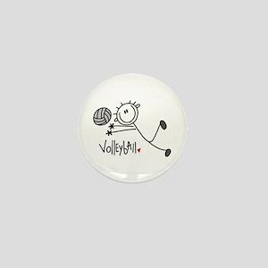 Stick Figure Volleyball Mini Button