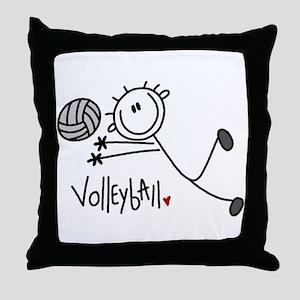 Stick Figure Volleyball Throw Pillow