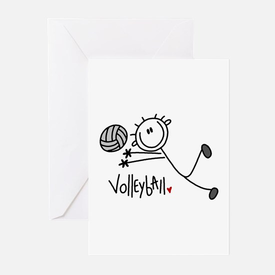 Stick Figure Volleyball Greeting Cards (Pk of 10)