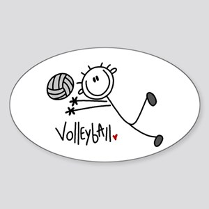 Stick Figure Volleyball Oval Sticker