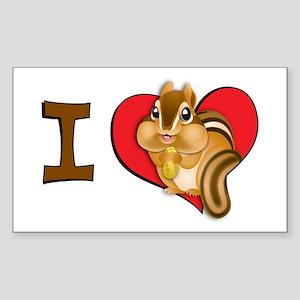 I heart chipmunks Rectangle Sticker