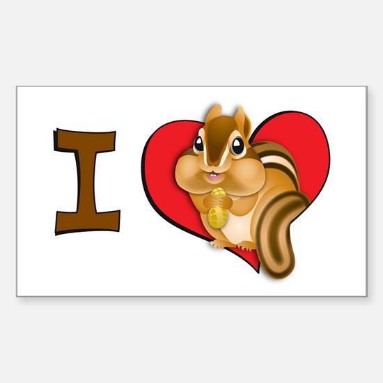 I heart chipmunks Rectangle Decal