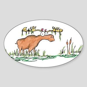 moose in a swamp Oval Sticker