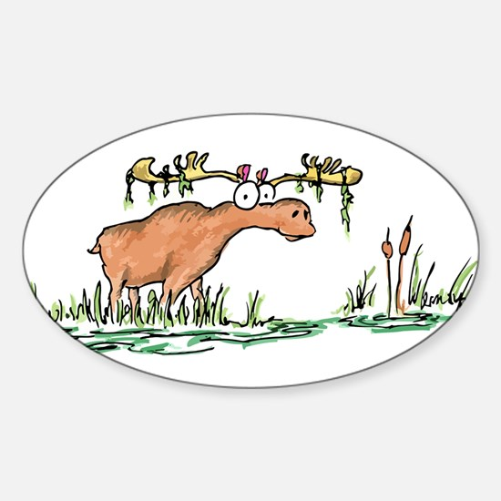 moose in a swamp Oval Decal