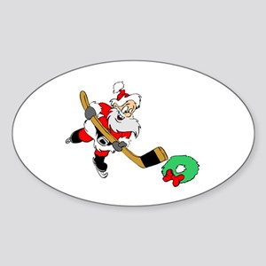 Hockey Santa Oval Sticker