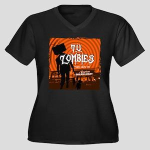 T.V. Zombies Women's Plus Size V-Neck Dark T-Shirt