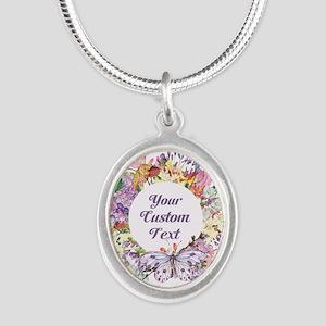 Custom Text Floral Wreath Necklaces