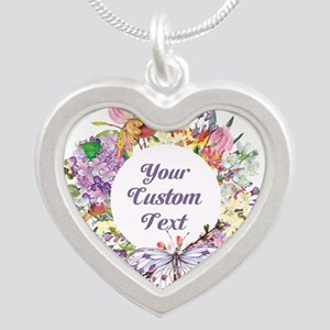 Custom Text Floral Wreath Necklaces