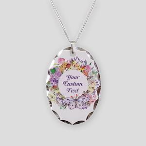 Custom Text Floral Wreath Necklace