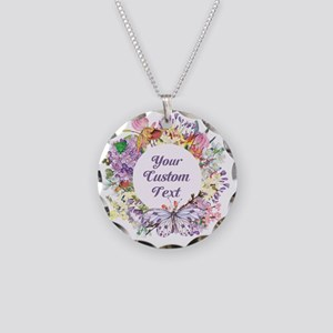 Custom Text Floral Wreath Necklace
