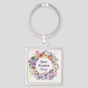Custom Text Floral Wreath Keychains
