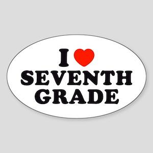 I Heart/Love Seventh Grade Oval Sticker