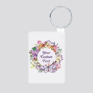 Custom Text Floral Wreath Keychains