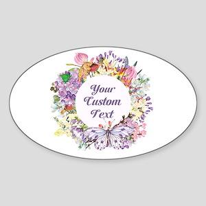 Custom Text Floral Wreath Sticker