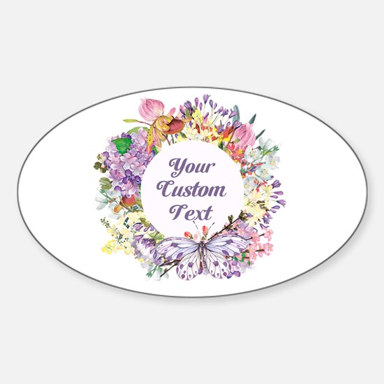 Custom Text Floral Wreath Decal