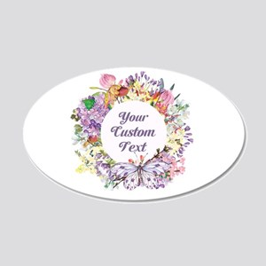 Custom Text Floral Wreath Wall Decal