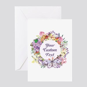 Custom Text Floral Wreath Greeting Cards