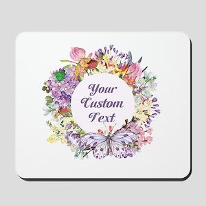 Custom Text Floral Wreath Mousepad