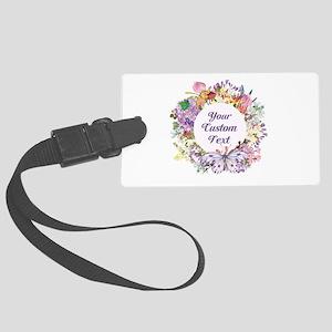 Custom Text Floral Wreath Luggage Tag