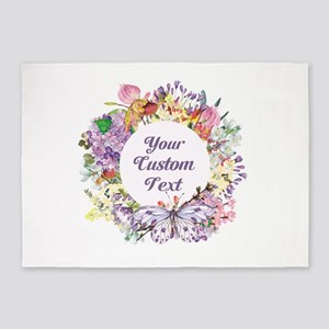Custom Text Floral Wreath 5'x7'Area Rug