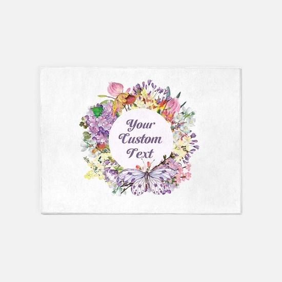Custom Text Floral Wreath 5'x7'Area Rug