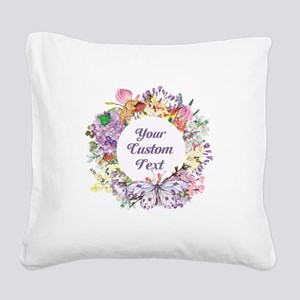 Custom Text Floral Wreath Square Canvas Pillow