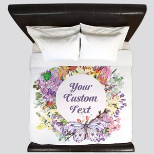 Custom Text Floral Wreath King Duvet