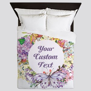 Custom Text Floral Wreath Queen Duvet
