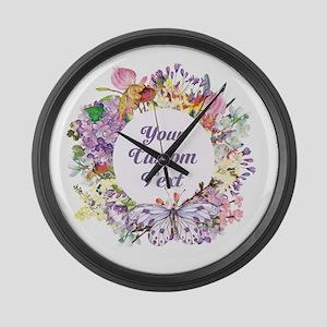 Custom Text Floral Wreath Large Wall Clock
