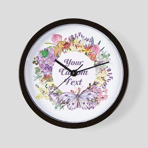 Custom Text Floral Wreath Wall Clock