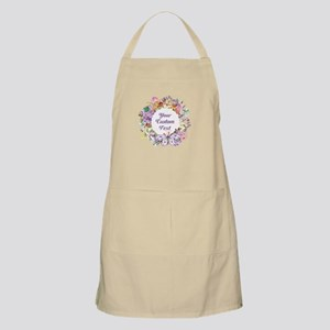 Custom Text Floral Wreath Light Apron