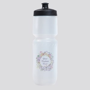Custom Text Floral Wreath Sports Bottle