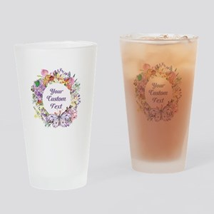Custom Text Floral Wreath Drinking Glass