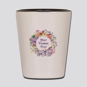 Custom Text Floral Wreath Shot Glass